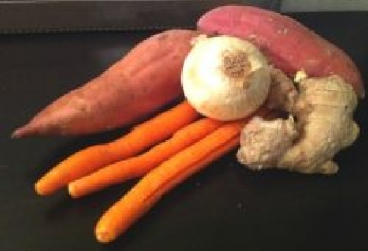 Onions, Ginger, Carrot Sweet Potato Soup Ingredients