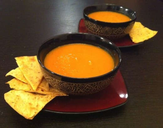 Carrot Sweet Potato Soup with toasted tortilla