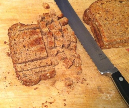 Cut into small cubes using a sharp bread knife