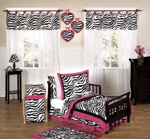Funky Zebra and Hot Pink Toddler Bedding