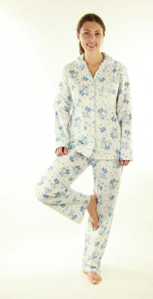 Women's flannel pajamas with elephant print