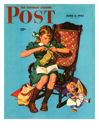 """Knitting for the War Effort,""  Saturday Evening Post Cover, June 6, 1942 James W. Schucker"