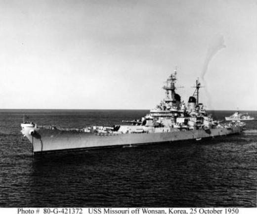 USS Missouri Battleship In Korea, 25 October 1950