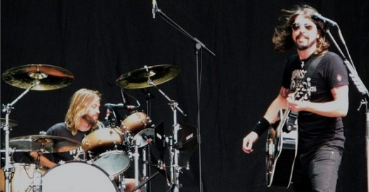 Taylor Hawkins and Dave Grohl on stage