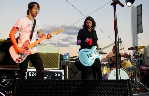 The Foo Fighters on stage