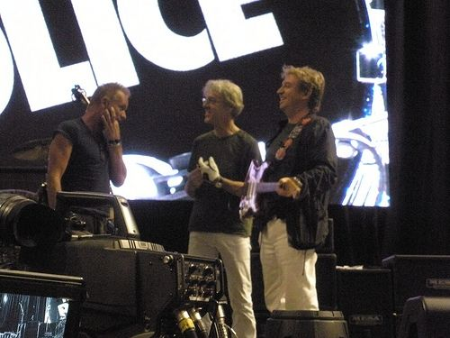 The Police on stage at a soundcheck.