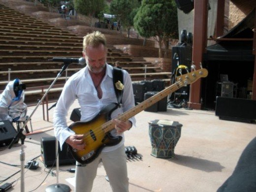 Sting on stage at a Police soundcheck - Denver 2008