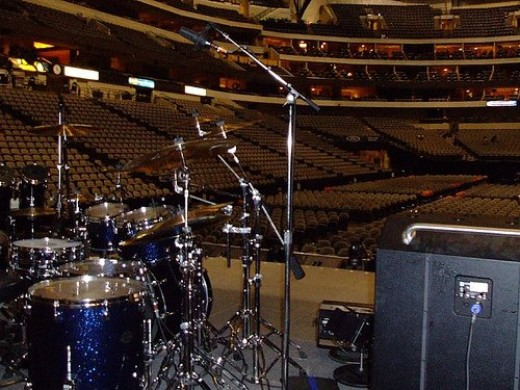 Looking out over the now-empty arena from next to Stewart's drumkit.