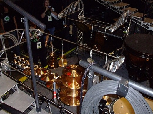 Looking down on Stewart's amazing array of percussion instruments.