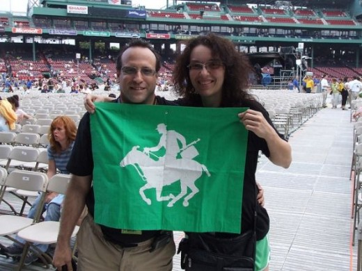 Myself and David at Fenway Park with The Flag, July 29, 2007