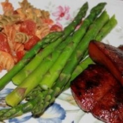 Great Dinner;  American Spirals, Kielbasa and Asparagus