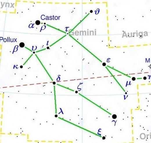 Gemini constellation map