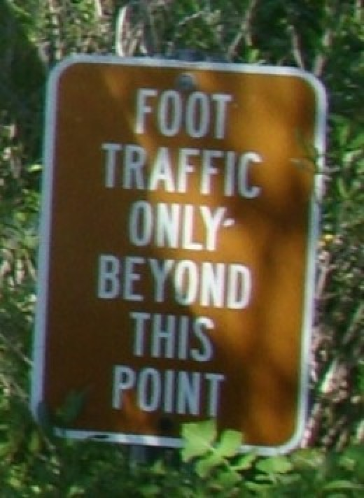 Foot Traffic Only Sign for the Terra Ceia Overlook Trail at Emerson Point Preserve
