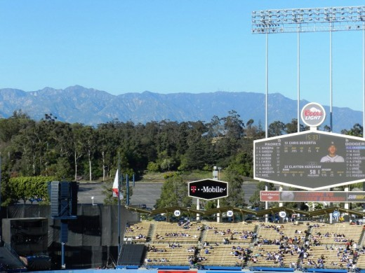The view is wide open at the stadium. Before you get inside there are views of Los Angeles and inside the view is the ridge that surrounds the stadium and the San Gabriel Mountains and Mt. Wilson.