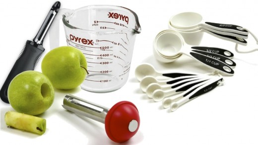 Shown above: OXO Good Grips Swivel Peeler, Norpro Stainless Steel Apple Corer with Plunger, Pyrex 2-Cup Measuring Cup, and Norpro Grip-EZ 12 Piece Measuring Cup Spoon Set. All eligible for free shipping from
