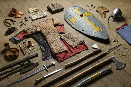 A huscarl's war gear - paid for by the profits in produce and rents from the five hides he held. His 'landlord' might be the King, the Church or his earl. Many of Harold's huscarls were Danes, Anglo-Danes or Englishmen with Danish forebears