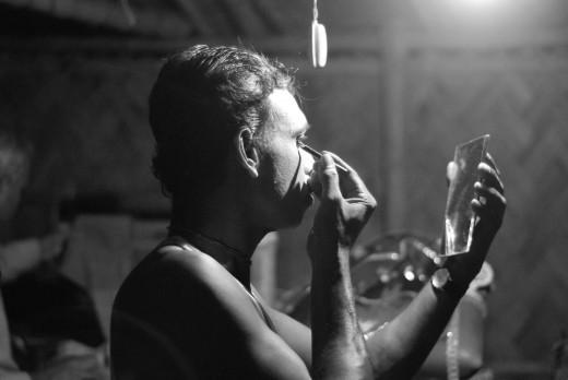 An actor prepares.