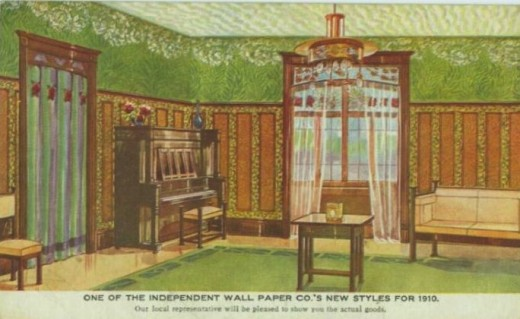 Postcard from 1910 showing Green Wallpapers on walls and ceiling with green area rug.