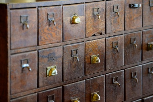 Who remembers these? Vintage card catalog