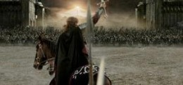 Aragorn (Viggo Mortensen) leads the united free peoples of Middle Earth to march on the infamous Black Gate of Mordor.
