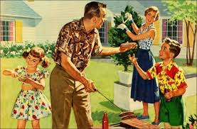 Vintage family barbecue