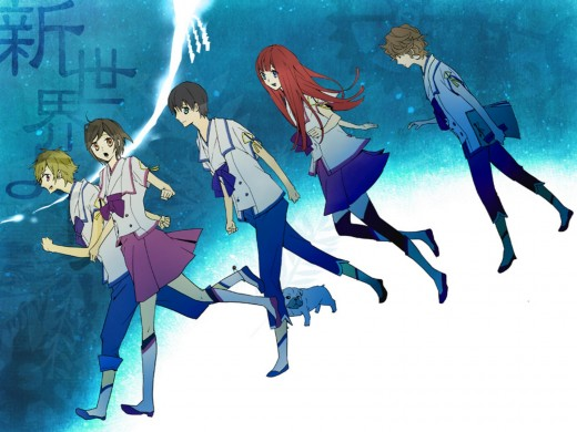 The main cast of Shin Sekai Yori. From left to right: Satoru Asahina, Saki Watanabe, Shun Aonuma, Maria Akizuki, and Mamoru Itou.