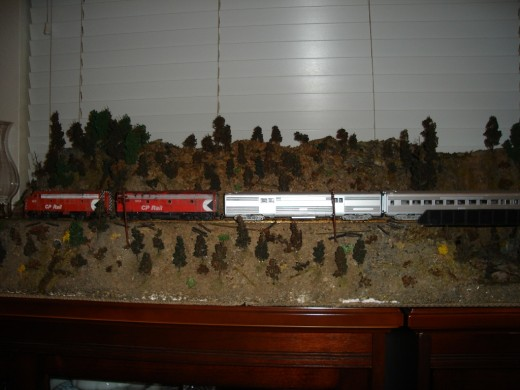 CPR railroad scene depicting Kelowna area of British Columbia, Canada.