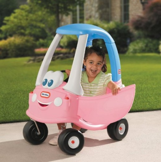 She can ride her little tikes cozy coupe alone