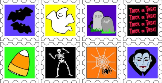 Faux Postage Halloween Stamps