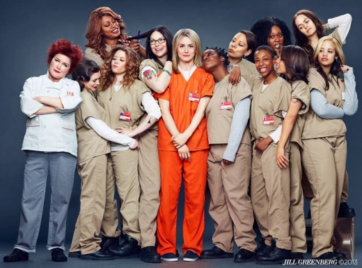 The main cast of Orange is the New Black. In orange: Piper Chapman, the series' protagonist.