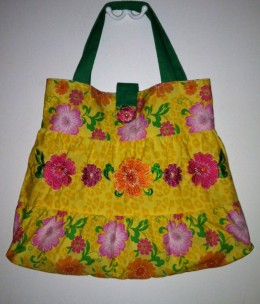 Sell recycled items on Zibbet: Tropical tote sewn from a toddler's tiered dress.  (See multiple photos below.)