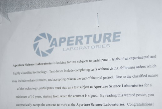 Aperture Labs Recruitment Poster