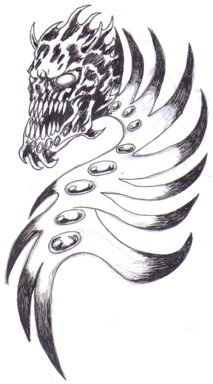 Ink the tattoo design after working on the tattoo drawing awhile.