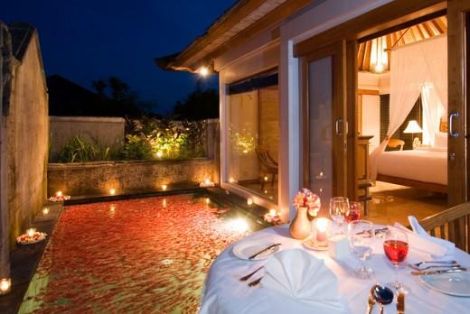 Romantic dinner set up.