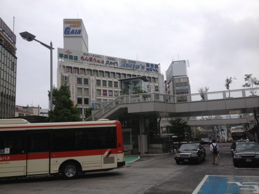 Just arrived and we're outside near Odawara Station.