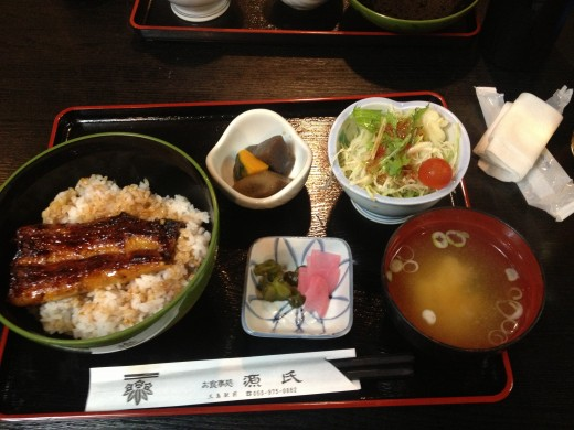 My lunch set.  Eel over rice, miso soup, pickled vegetables, salad and sweet potatoes.