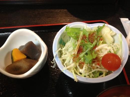 Salad and sweet potatoes.