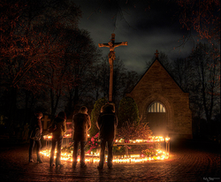Halloween Sweden. Candles are lighted on the graves of loved ones. Gifts of flowers and candies are also left on the graves of loved ones on the night of Halloween.