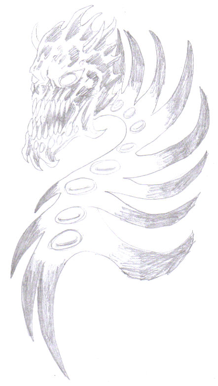 Work the pencils a bit to sketch in more detail for your demon tattoo.