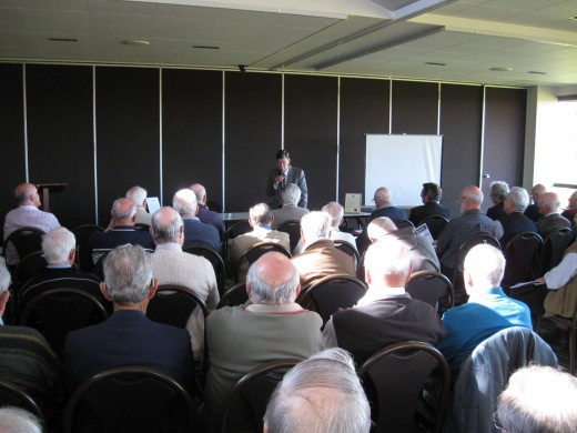 Here we have an all male Probus Club meeting in the premises of a Golf Club.