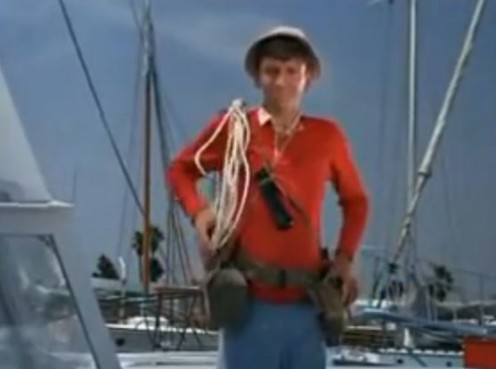 Bob Denver as Gilligan from the opening title of Gilligan's Island, when the series was broadcast in color at the start of its second season.