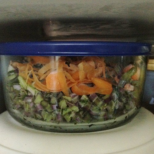 Freezer bowl full of peelings, bits and pieces of veggies, ready to make delicious vegetable soup stock