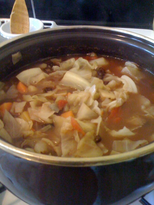 Cabbage and black bean soup made entirely from leftovers in our fridge--yet tastes like a brand new dish because it is