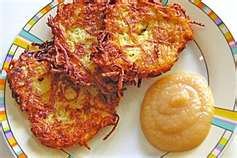 Gromperekichelcher (Potato Pancakes) served with applesauce