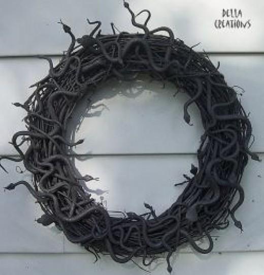 Black Snake Wreath for Halloween
