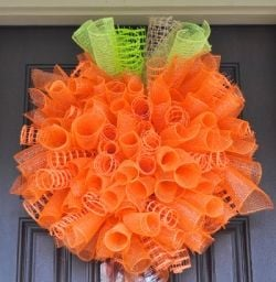 Halloween Spiral Wreath with Deco Mesh