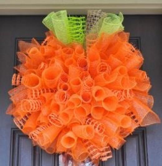 Halloween Spiral Wreath with Deco Mesh