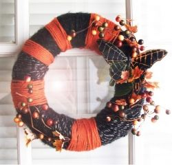 Butterfly wrapped Halloween wreath