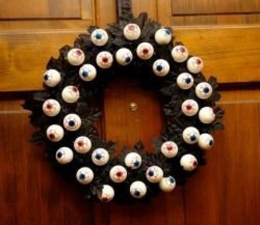 Ping Pong Eyeball Wreath