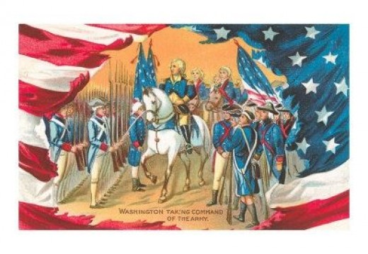 Postcard: Washington Taking Command of the Army